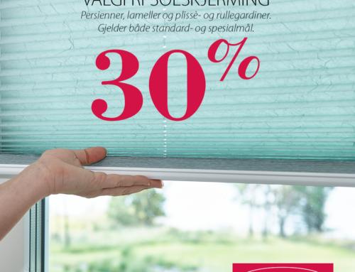30% på valgfri solskjerming!