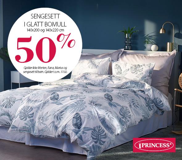 50% rabatt på sengesett i glatt bomull!