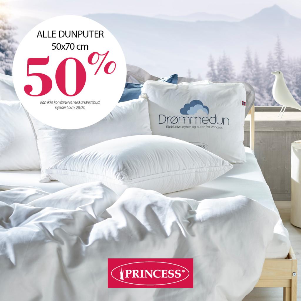 50% på alle dunputer hos Princess