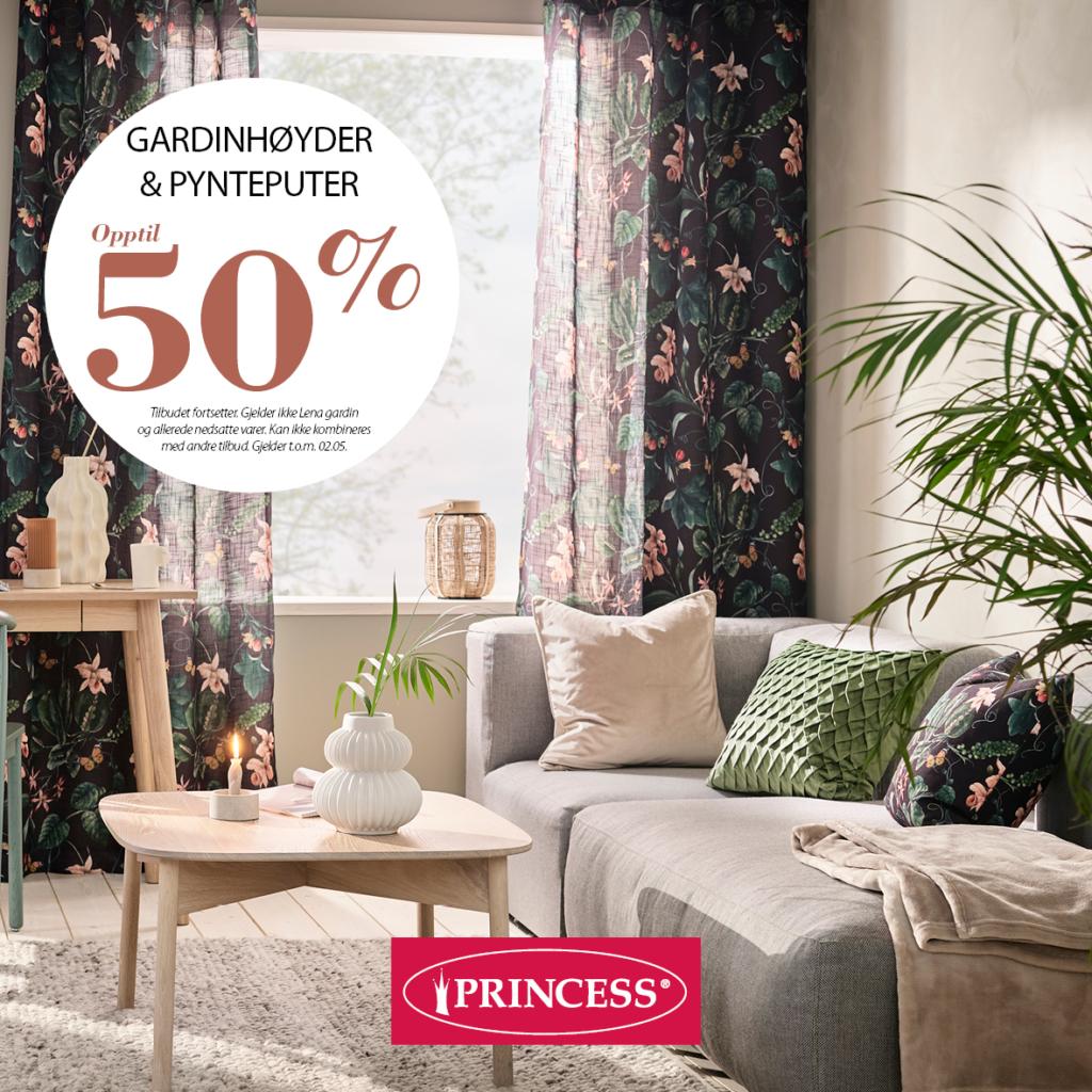 50% rabatt på gardinhøyder og pynteputer